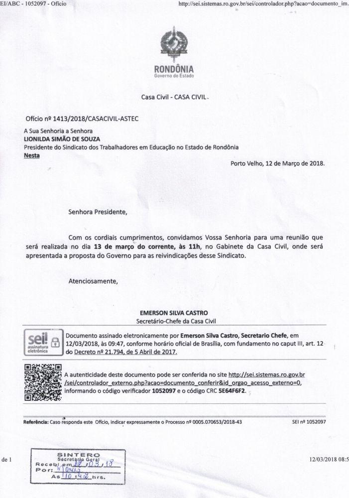 Governo marca reunião com o Sintero para apresentar proposta aos trabalhadores em educação